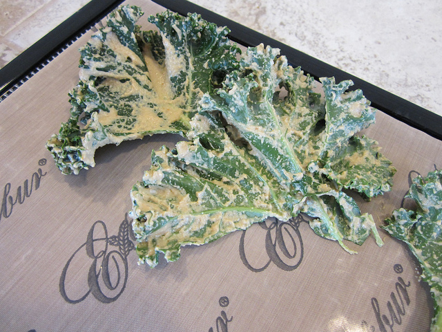 Line Kale Chips on Dehydrator Tray