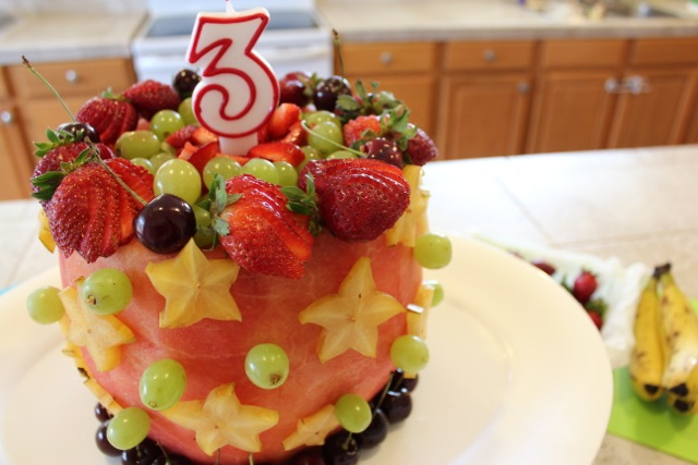 Remarkable Real Watermelon Cake Recipe Made With 100 Fruit Personalised Birthday Cards Veneteletsinfo