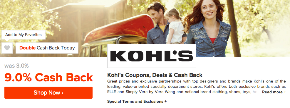 ebates kohls double cash back