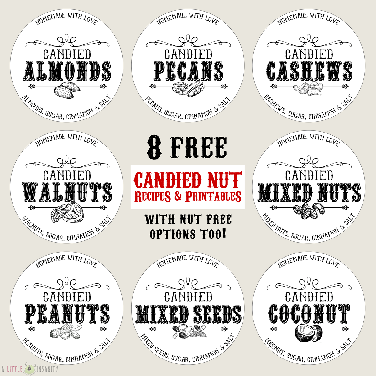 Candied Nuts Free Printable Labels