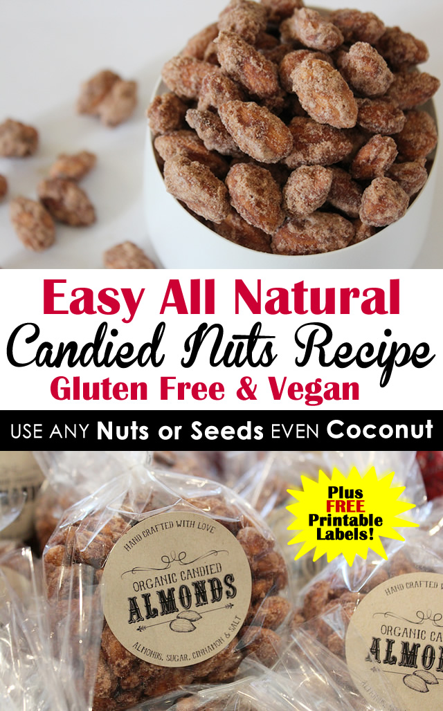 The BEST All Natural Candied Nuts Recipe - Gluten Free and Vegan - Use ANY Nuts or Seeds or Coconut - Pinterest