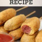 Gluten Free and Vegan Corndog Recipe #glutenfree #eggfree #dairyfree #vegan #hotdog #veggiedog #anydog #recipe #pinterest