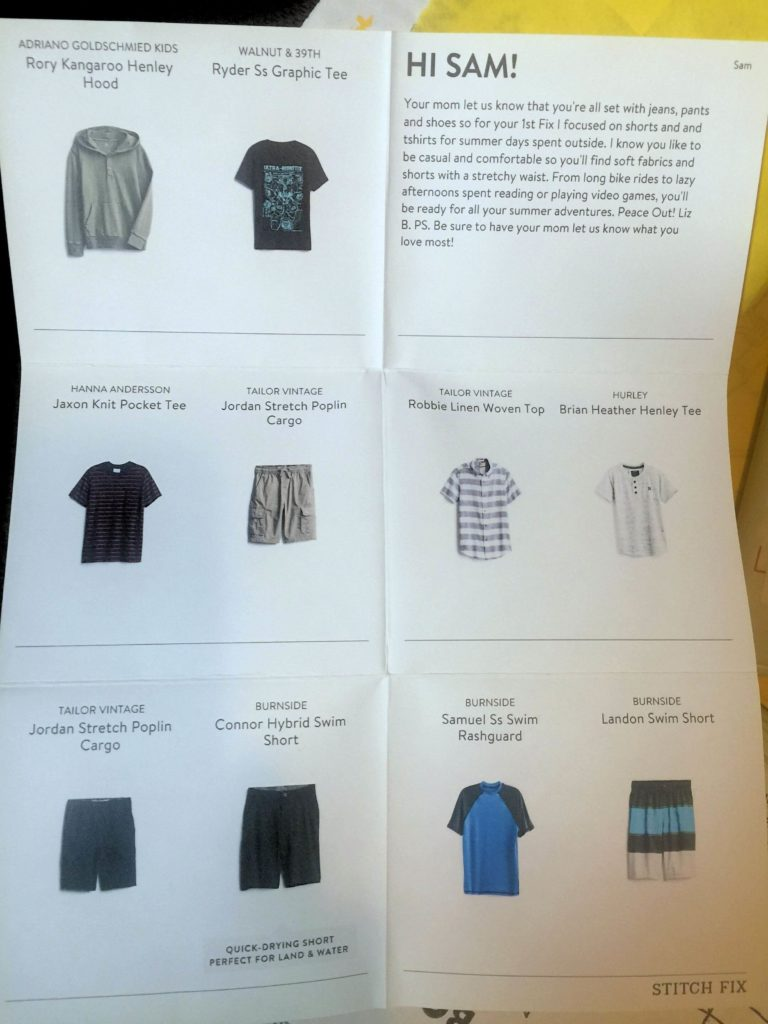 StitchFix Kids Review - Note from Stylist